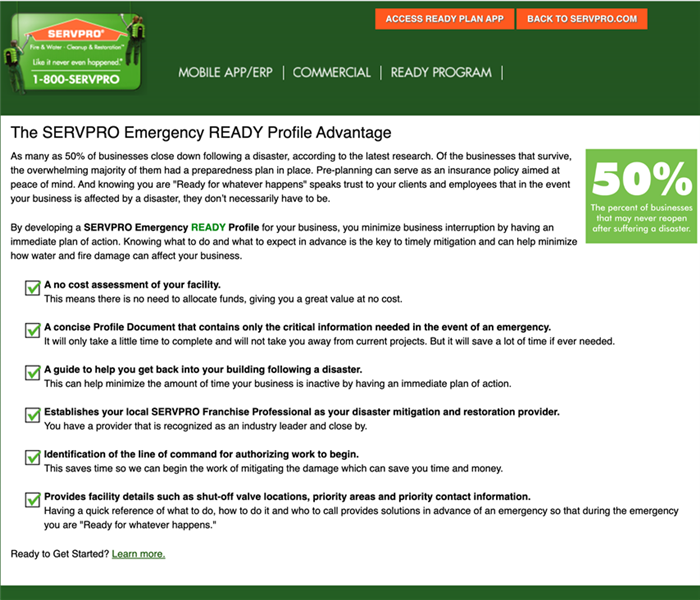 The SERVPRO emergency ready profile