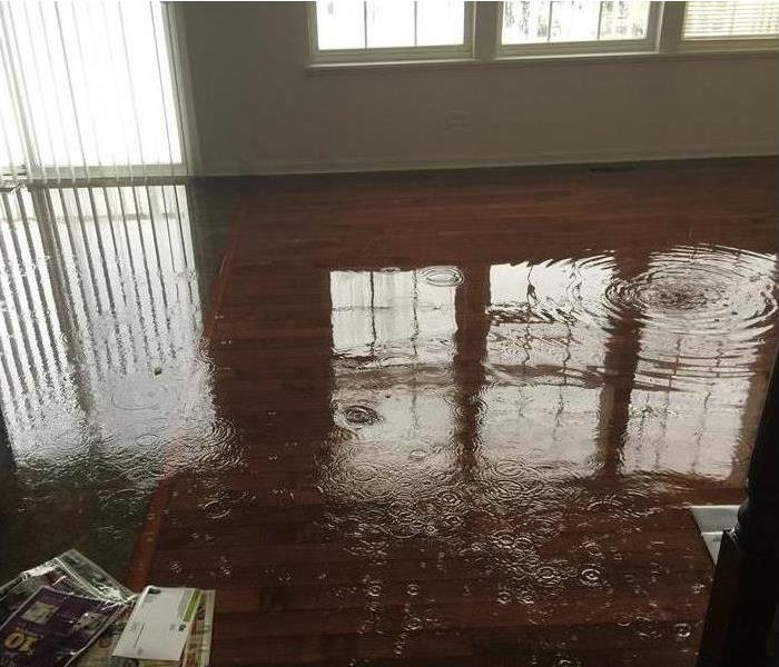 Hardwood floor flooded and some paper are floating in the water